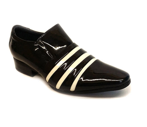 New Boys Kids Smart Shiny Patent Leather Striped Wedding Formal Shoes Size