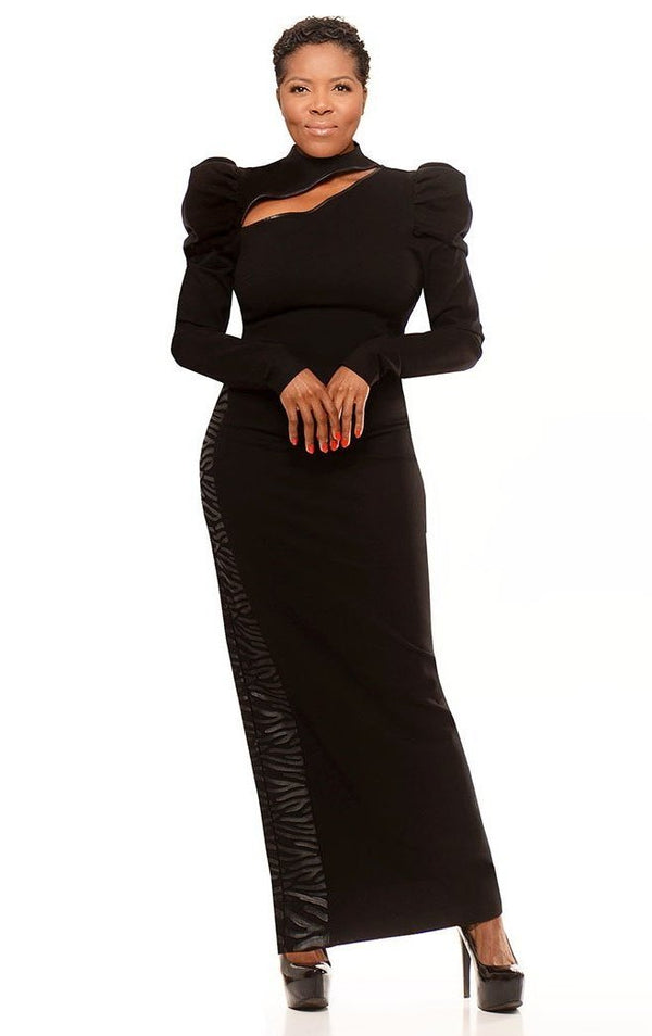 Designer Tebo Dambe - Women's Long Sleeves Black Dress