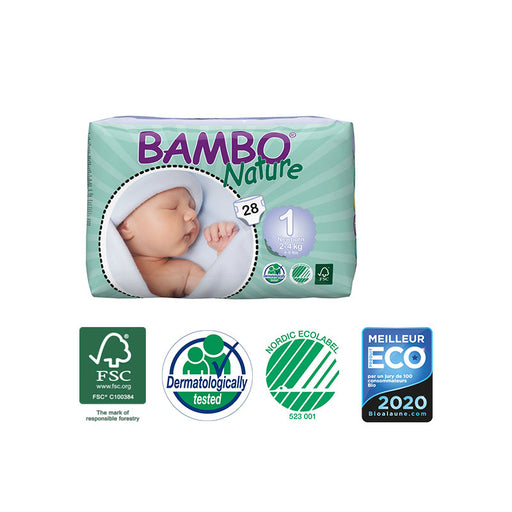 BAMBO NATURE - 28 Couches écologiques jetables - T1 New Born 2-4 kg