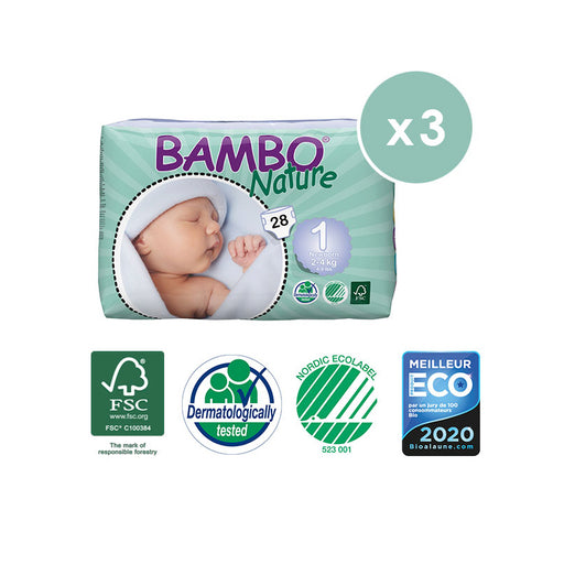 BAMBO NATURE - Pack 3 x 28 Couches écologiques jetables - T1 New Born 2-4 kg