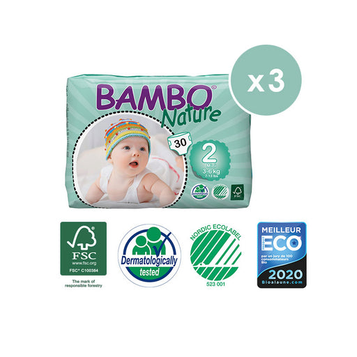 BAMBO NATURE - Pack 3 x 30 Couches écologiques jetables - T2 Mini 3-6 kg