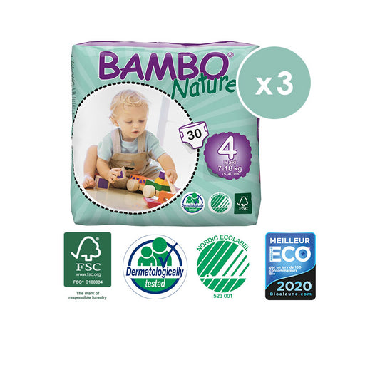 BAMBO NATURE - Pack 3 x 30 Couches écologiques jetables - T4 Maxi 7-18 kg