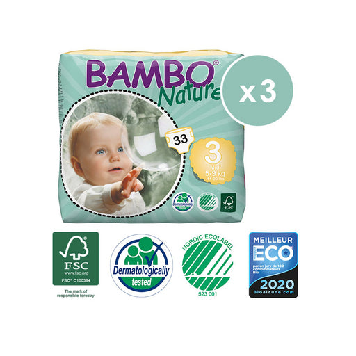 BAMBO NATURE - Pack 3 x 33 Couches écologiques jetables - T3 Midi 5-9 kg