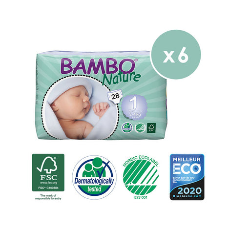 BAMBO NATURE - Pack 6 x 28 Couches écologiques jetables - T1 New Born 2-4 kg