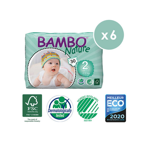 BAMBO NATURE - Pack 6 x 30 Couches écologiques jetables - T2 Mini 3-6 kg