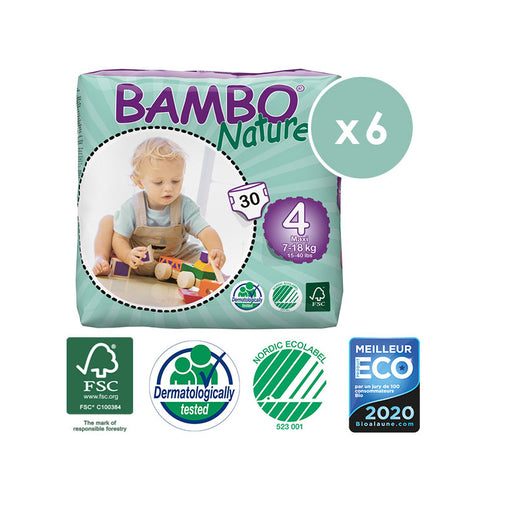 BAMBO NATURE - Pack 6 x 30 Couches écologiques jetables - T4 Maxi 7-18 kg
