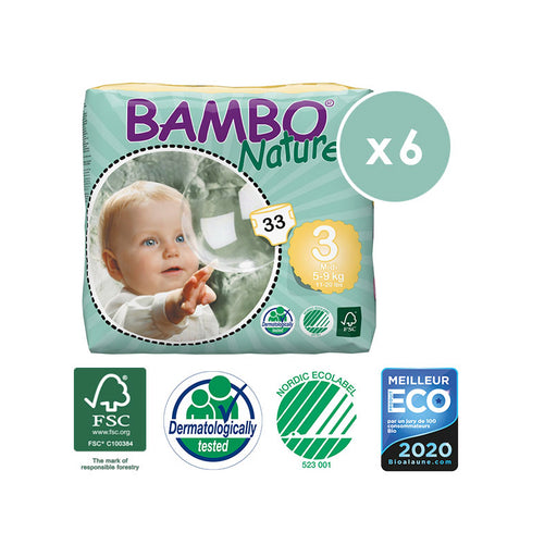 BAMBO NATURE - Pack 6 x 33 Couches écologiques jetables - T3 Midi 5-9 kg