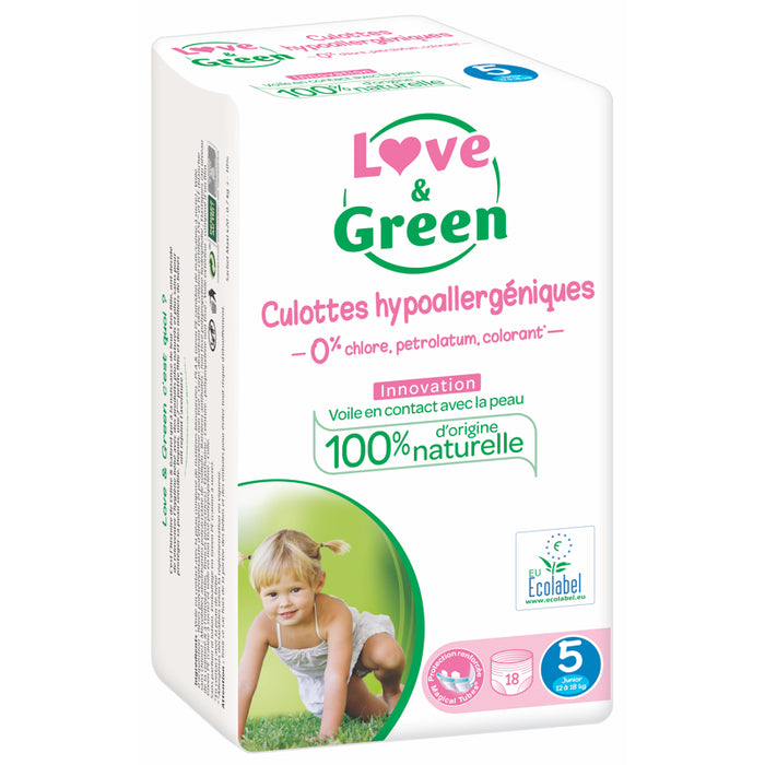 LOVE AND GREEN - Culottes d'apprentissage jetables hypoallergéniques - T5 - 12-18 kg