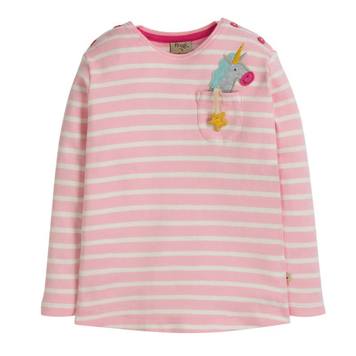 FRUGI - Top manches longues Louise coton bio - Soft Pink Breton Unicorn