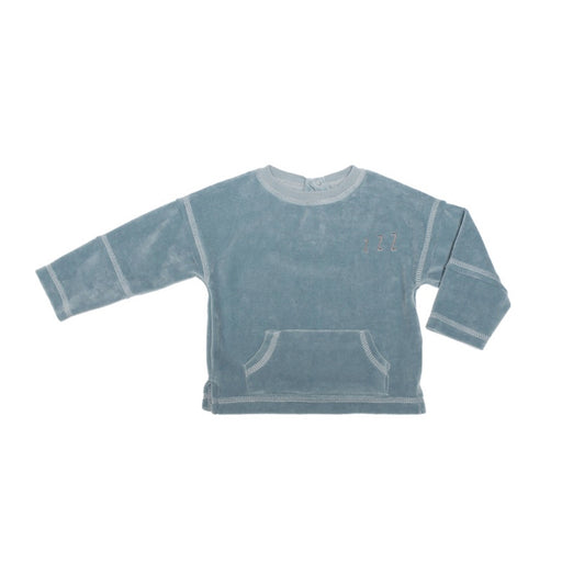 LES PETITES CHOSES - Sweat Louis velours coton oeko tex - Bleu