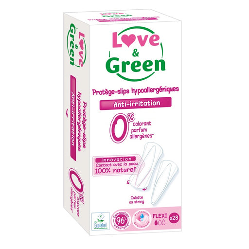 LOVE AND GREEN - 28 Protège-slips hypoallergéniques 0% - Flexi