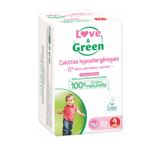 LOVE AND GREEN - Culottes d'apprentissage jetables hypoallergéniques - T4 - 8-15 kg