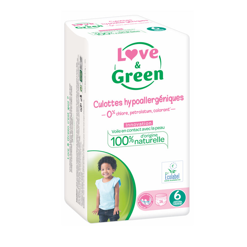 LOVE AND GREEN - Culottes d'apprentissage jetables hypoallergéniques - T6 - 16 kg+