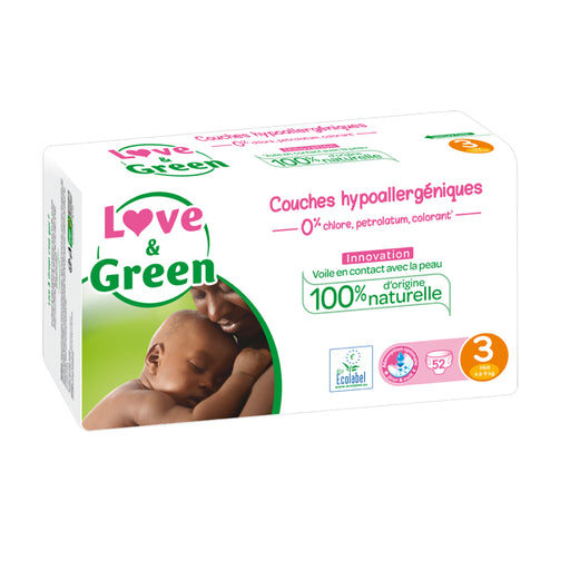 LOVE AND GREEN - Jumbo Couches jetables hypoallergéniques T3 Midi - 4-9 kg