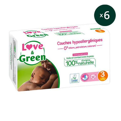 LOVE AND GREEN - Pack 6 x 52 Couches jetables écologiques hypoallergéniques jumbo - T3 Midi 4-9 kg