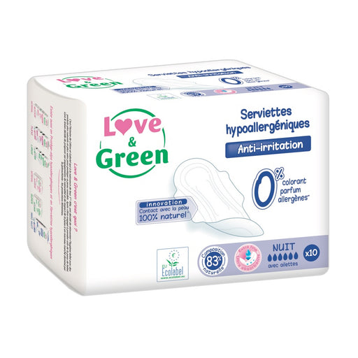 LOVE AND GREEN - 10 Serviettes nuit hypoallergéniques 0%