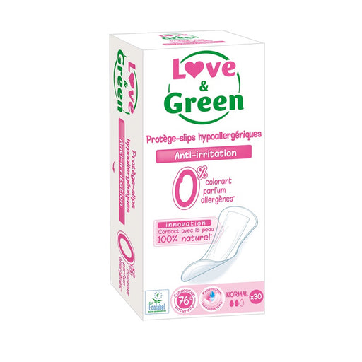 LOVE AND GREEN - 30 Protèges-slips hypoallergéniques 0%