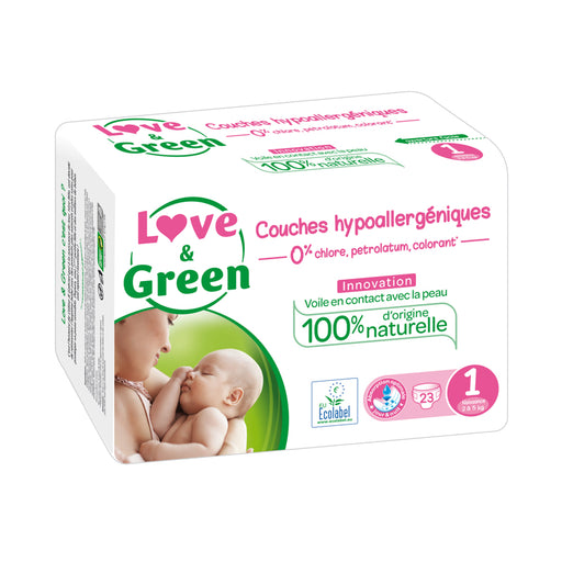 LOVE AND GREEN - Couches jetables hypoallergéniques anti-irritation - T1 Naissance - 2-5 kg