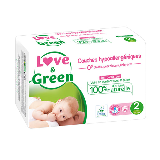 LOVE AND GREEN - Couches jetables hypoallergéniques anti-irritation - T2 Mini - 3-6 kg