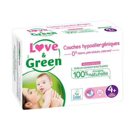 LOVE AND GREEN - 42 Couches jetables écologiques hypoallergéniques jumbo - T4 Maxi+ 9-20 kg