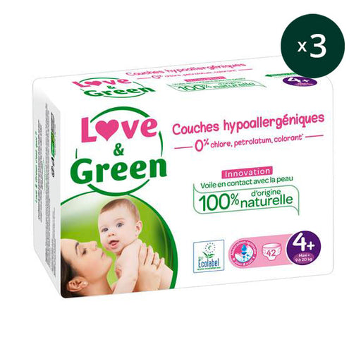 LOVE AND GREEN - Pack 3 x 42 Couches jetables écologiques hypoallergéniques jumbo - T4 Maxi+ 9-20 kg