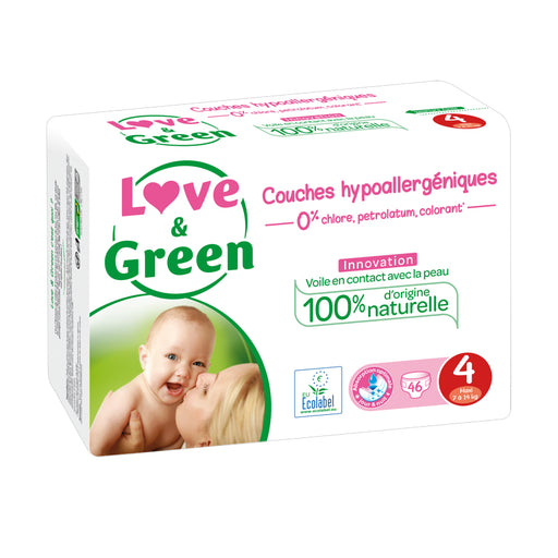 LOVE AND GREEN - 46 Couches jetables écologiques hypoallergéniques jumbo - T4 Maxi - 7-14 kg