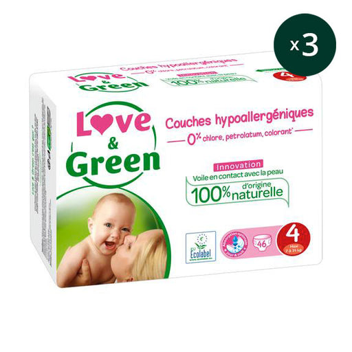 LOVE AND GREEN - Pack 3 x 46 Couches jetables écologiques hypoallergéniques jumbo - T4 Maxi - 7-14 kg