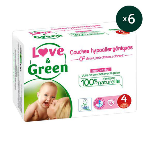 LOVE AND GREEN - Pack 6 x 46 Couches jetables écologiques hypoallergéniques jumbo - T4 Maxi - 7-14 kg