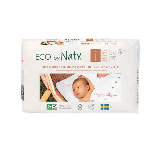 ECO BY NATY - 25 couches jetables écologiques - T1 Newborn 2-5 kg