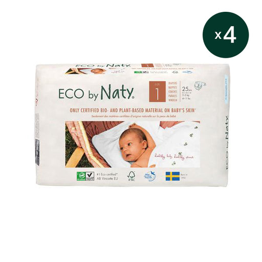 ECO BY NATY - Pack 4 x 25 couches jetables écologiques - T1 Newborn 2-5 kg