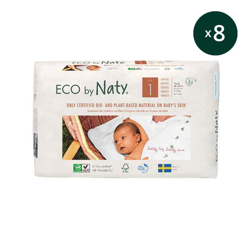 ECO BY NATY - Pack 8 x 25 couches jetables écologiques - T1 Newborn 2-5 kg