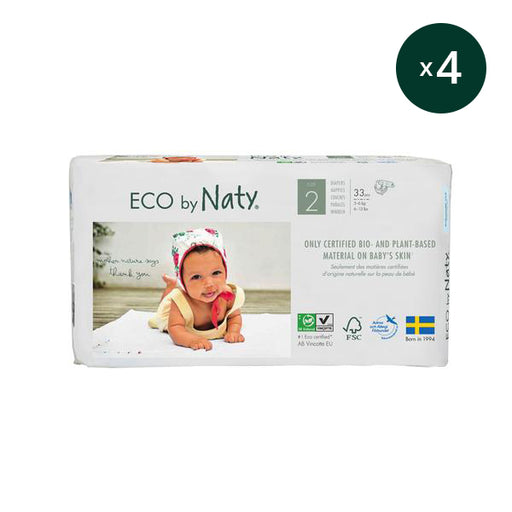 ECO BY NATY - Pack 4 x 33 couches jetables écologiques – T2 3-6 kg