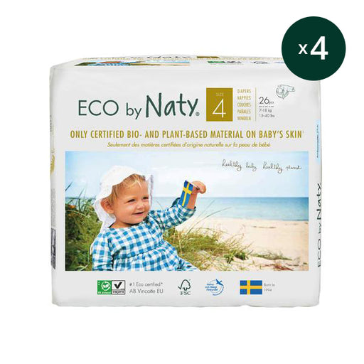 ECO BY NATY - Pack 4 x 26 couches jetables écologiques – T4 7-18 kg