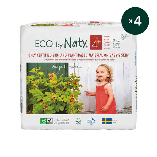 ECO BY NATY - Pack 4 x 24 couches jetables écologiques - T4+ 9-20 kg