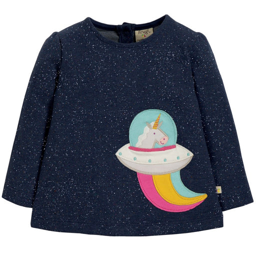 FRUGI - Top manches longues Mabel coton bio - Space Blue Nepp Unicorn