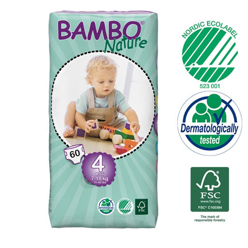 BAMBO NATURE - 60 Couches écologiques jetables Jumbo - T4 Maxi 7-18 kg