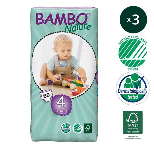 BAMBO NATURE - Pack 3 x 60 Couches écologiques jetables Jumbo - T4 Maxi 7-18 kg