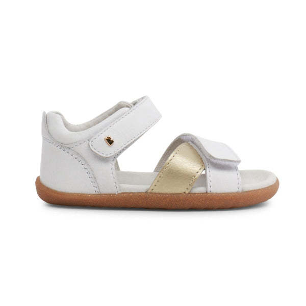 Cuir Up White Sail Step Bobux Chaussures Gold Souple NZkX80wOnP