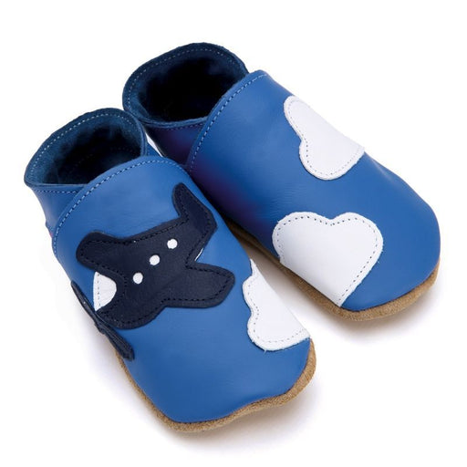 STARCHILD - Chaussons cuir souple - Aeroplane Blue