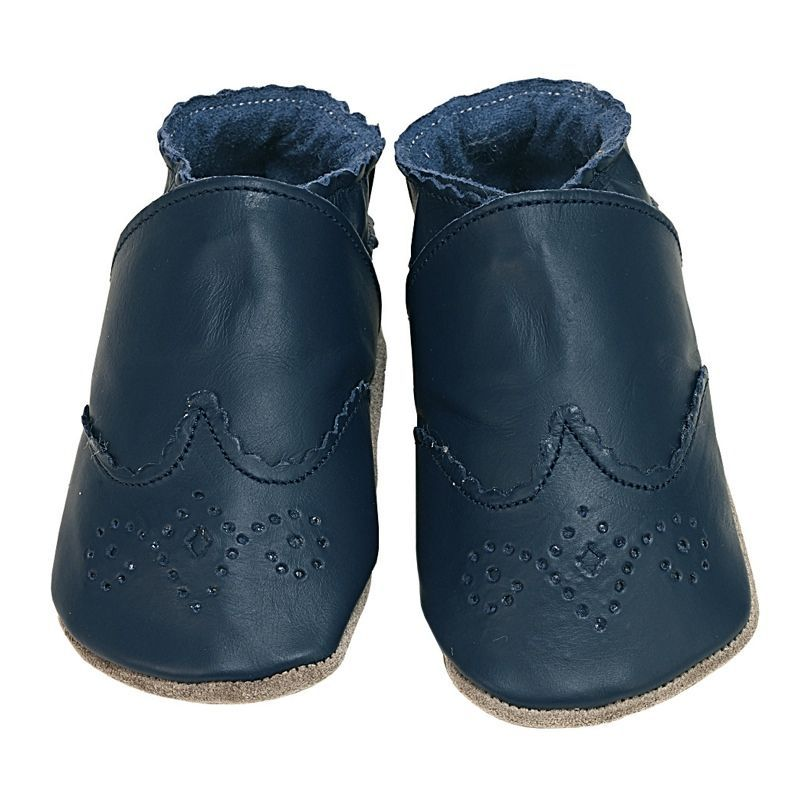 Chaussons cuir souple - Brogue Navy