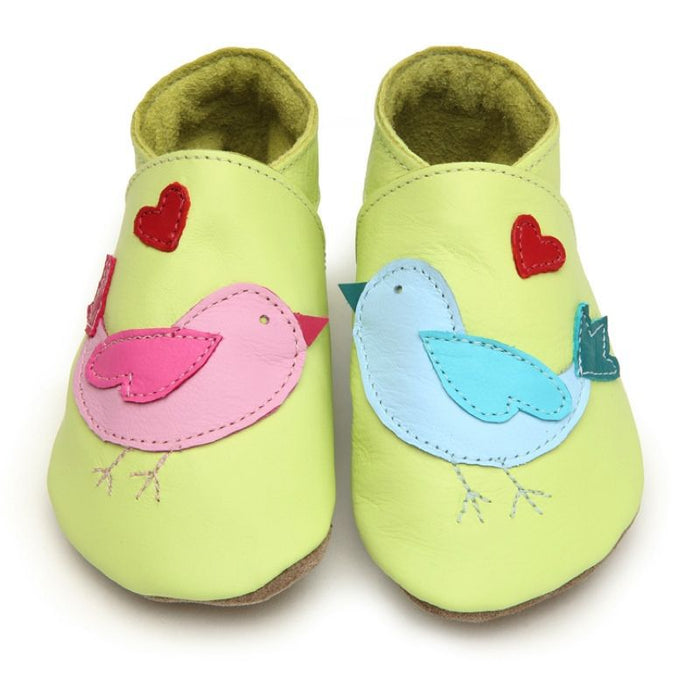 STARCHILD - Chaussons cuir souple - Lovebirds Lemon
