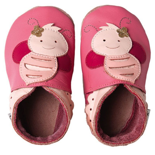 BOBUX - Chaussons cuir souple - Rose Bee