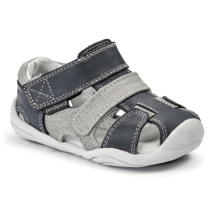 PEDIPED - Chaussures cuir souple Grip'n'Go Joshua - Navy Grey