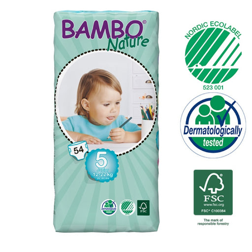 BAMBO NATURE - 54 Couches écologiques jetables Jumbo - T5 Junior 12-22 kg