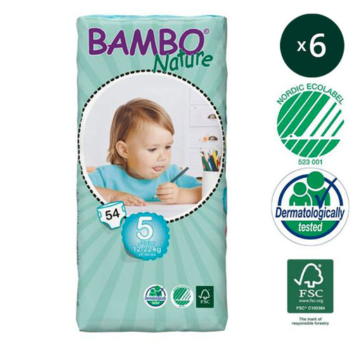 BAMBO NATURE - Pack 6 x 54 Couches écologiques jetables Jumbo - T5 Junior 12-22 kg