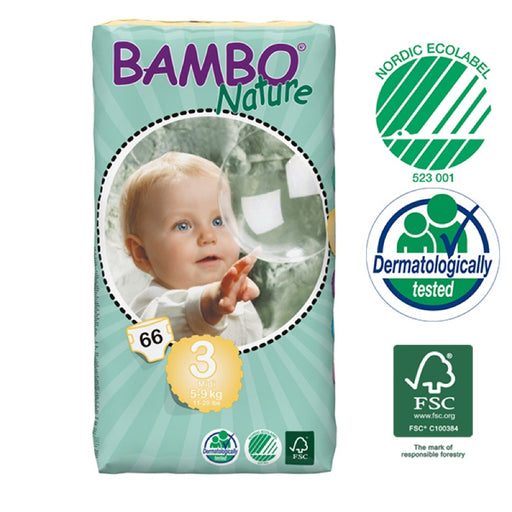 BAMBO NATURE - 66 Couches écologiques jetables Jumbo - T3 Midi 5-9 kg