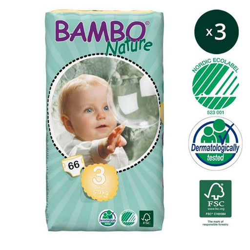 BAMBO NATURE - Pack 3 x 66 Couches écologiques jetables Jumbo - T3 Midi 5-9 kg