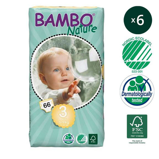 BAMBO NATURE - Pack 6 x 66 Couches écologiques jetables Jumbo - T3 Midi 5-9 kg