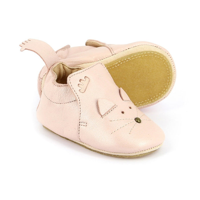 EASY PEASY - Chaussons en cuir Blublu Chat - Rose baba
