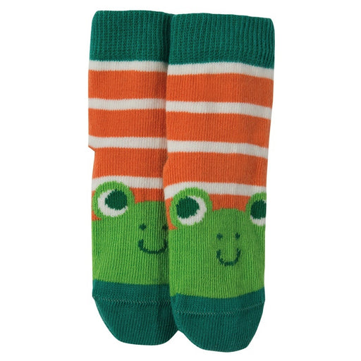 FRUGI - Chaussettes coton bio - Warm Orange Stripe Frog